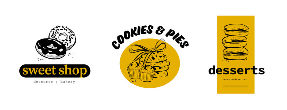 ПечатьCollection of sweet shop & desserts logo design with hand drawn donut, cookies, cupcakes and macarons illustration. Vector doodle style. For cafe brand emblem.
