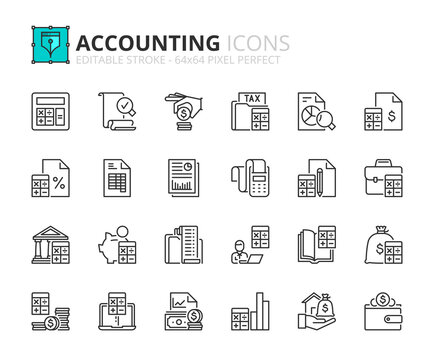Simple set of outline icons about accounting. Finances concepts