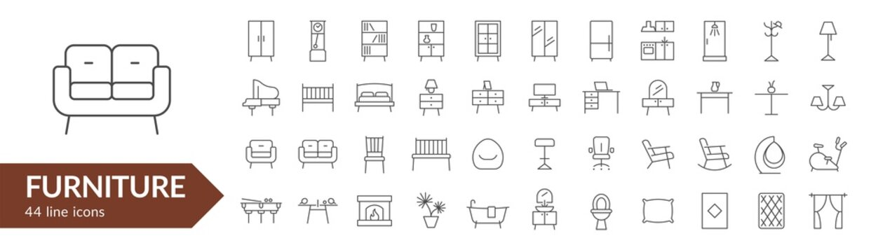 Furniture line icon set. Isolated signs on white background. Vector illustration. Collection
