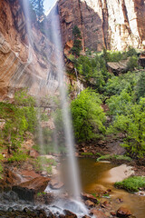 Emerald Falls in Zion National Park in the USA