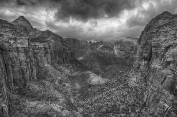 Zion valley seen from Canyon Overlook in black and white