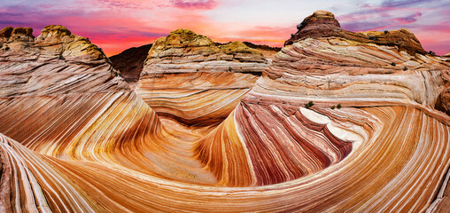 Sunset over Wave rock formation in Arizona in the USA