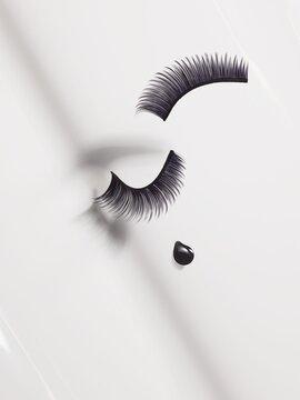 false eyelashes, droplet