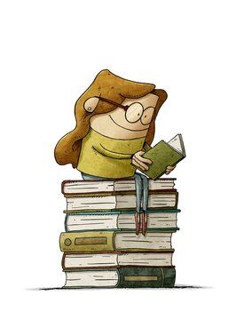 young woman reads while sitting on top of a pile of books. Culture and learning concept. isolated
