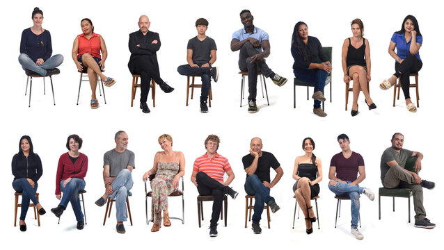 front view of a group of people wiith legs crossed on white background