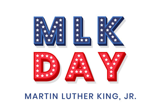 Martin Luther King Jr. decorative dimensional text design with stars. MLK day text template for greeting card, banner or flyer. Vector illustration for USA national holiday