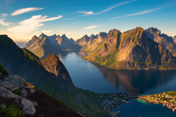Wall Mural - Mountains and fjords around the Reine fishing village in Lofoten islands, Norway