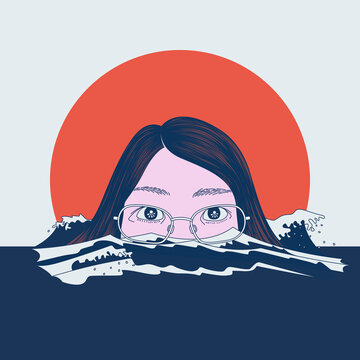 a portrait of a girl soaked rising in the ocean minding the ocean a climate awareness illustration