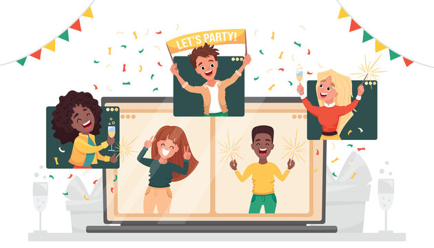 Online party. Virtual New Year company party. Diverse people dancing and chatting celebrating the holiday on via video call. Friends meeting up online. Vector cartoon flat illustration