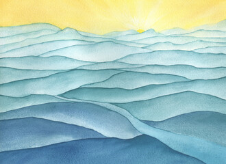 Blue mountain landscape - the sand dunes in the desert on sunrise, panoramic view. Beautiful rocks and sand desert. Watercolor hand drawn painting illustration.