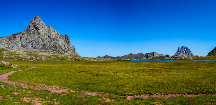 Panoramic of Pico de Anayet and the Midi d'Ossau. Concept famous mountains of the Pyrenees