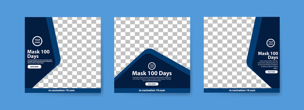 Collection of 100 days of masks covid-19 vaccine social media posts. vaccine for covid-19. for the socialization of the covid-19 virus vaccination.