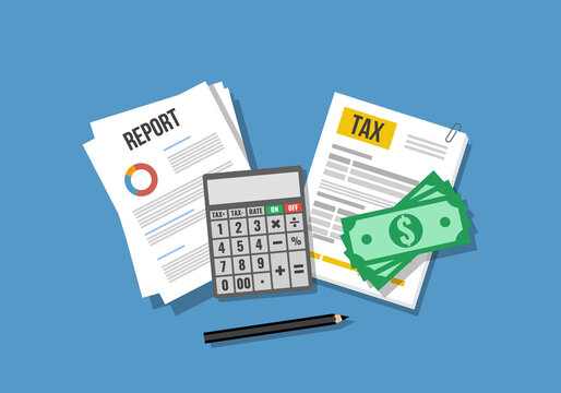 financial report and tax application form, flat vector illustration