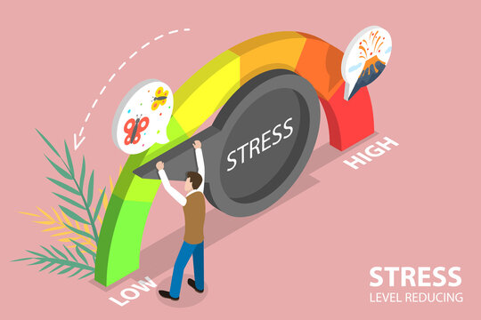 3D Isometric Flat Vector Conceptual Illustration of Stress Level Reducing, Effective Stress Relievers.