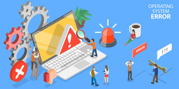 3D Isometric Flat Vector Conceptual Illustration of Operating System Error or 404 Error Web Page.