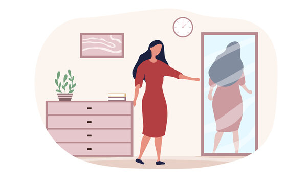 Caucasian woman is having inner conflict. Concept of internal demons people listen to. People suffering from mental disorders, psychological diseases, schizophrenia. Flat cartoon vector illustration