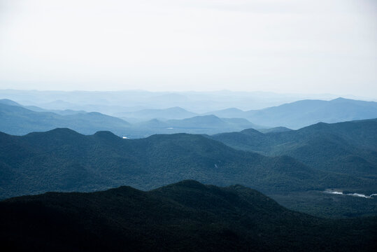 layers of blue mountains in the adirondack mountains of New York