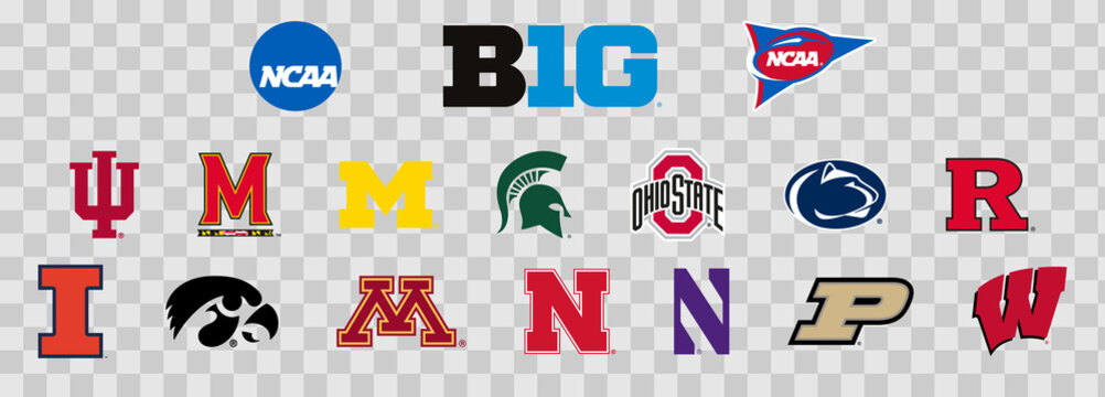 Logos of the Big 10 colleges of the NCAA. Scalable Vector image.