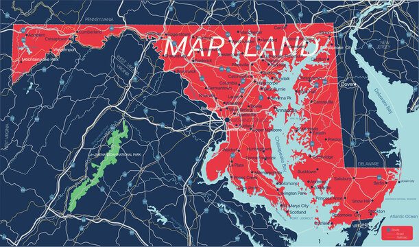 Maryland state detailed editable map with cities and towns, geographic sites, roads, railways, interstates and U.S. highways. Vector EPS-10 file, trending color scheme