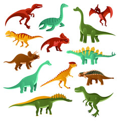 Funny dinosaurs. Collection of cartoon dinosaurs of different types. Funny animal of the Jurassic era isolated on white background. Vector illustrations