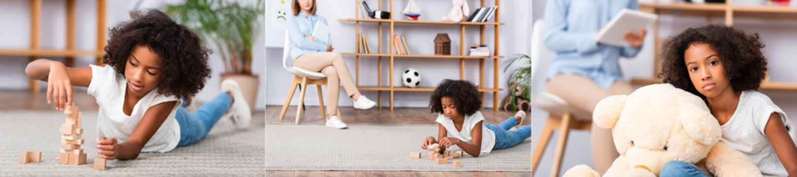 Collage of african american girl looking at camera near teddy bear and playing with wooden blocks on floor on blurred background, banner