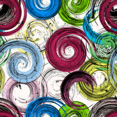 seamless background pattern, with circles, swirls, paint strokes and splashes