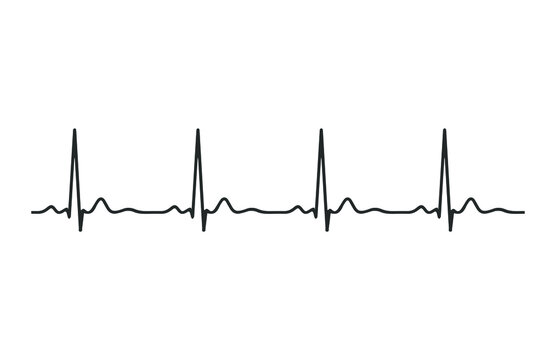 Ecg heart beat line icon symbol. Heartbeat pulse hospital logo sign. Vector illustration image. Isolated on white background.