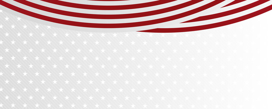Red white star ribbon flag abstract background for wide banner