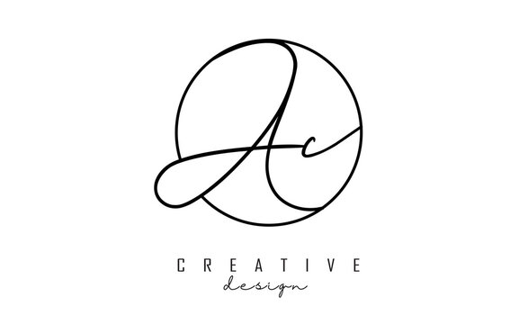 Handwriting letters AC A C logo design with simple circle vector illustration.
