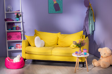 colorful doll living room with yellow sofa