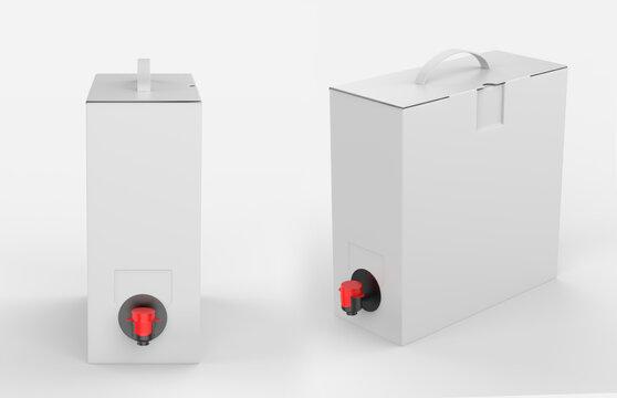 Blank Matte Paper Box with Wine Tap For Branding. 3d render illustration.
