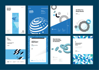 Obraz Set of brochure, business plan, annual report, cover design templates. Vector illustrations for business presentation, business paper, corporate document, flyer and marketing material. - fototapety do salonu