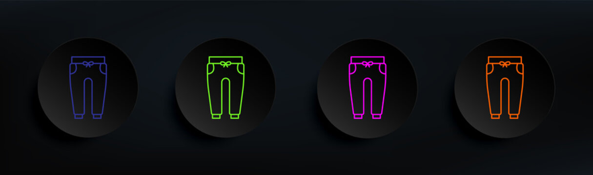 sports trousers dark badge color set. Simple thin line, outline vector of clothes icons for ui and ux, website or mobile application