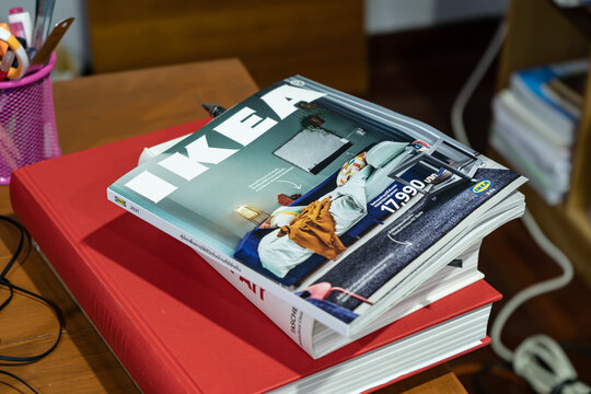 Bangkok, Thailand - December 7, 2020 : The 2021 Ikea catalogue is the final edition of the Ikea catalogue.