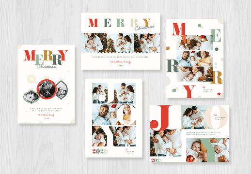 Colorful Typography Christmas Photo Card Layout