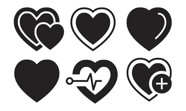 Flat vector icon a heart shape, medicine or medical health care or romantical symbol for apps and website