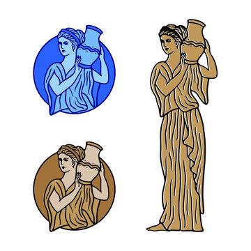 Greek Goddess Holding Vase badge set