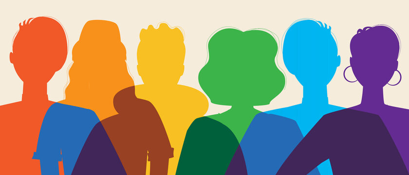 Silhouette of LGBTQ people isolated as concept of homosexuality, lesbianism, asexuality, bisexuality, vector stock illustration with tolerant community or group