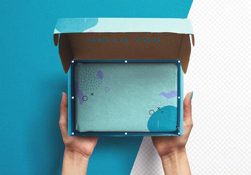 Hands Holding Opened Postal Box Mockup