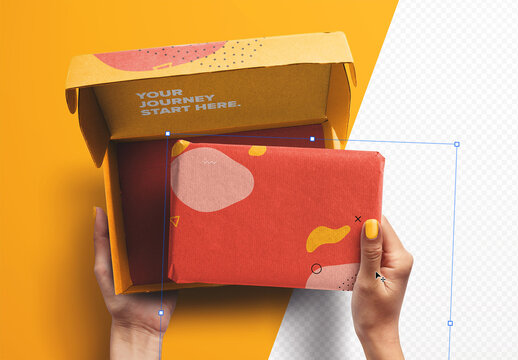 Hands Holding Opened Postal Box and Package Mockup