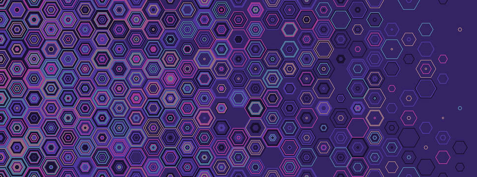 Hexagonal abstract seamless background. Vector geometric background with fade linear hexagons. Modern stylish texture