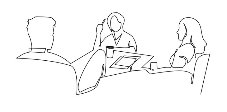 Women work together for business lunch vector art. Business team meeting continuous line drawing. Friends in cafe contour vector illustration. Girls talk to each other and have a good time
