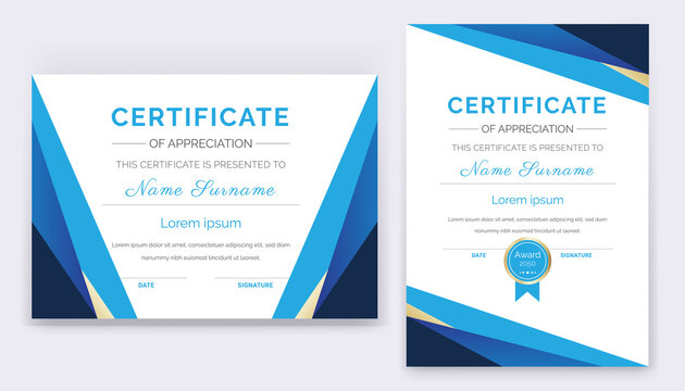 Modern and professional academic certificate of appreciation award template design