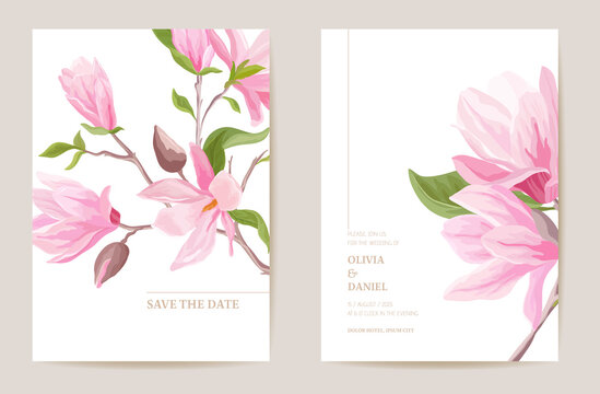Wedding invitation magnolia flowers, leaves card. Watercolor floral minimal template vector