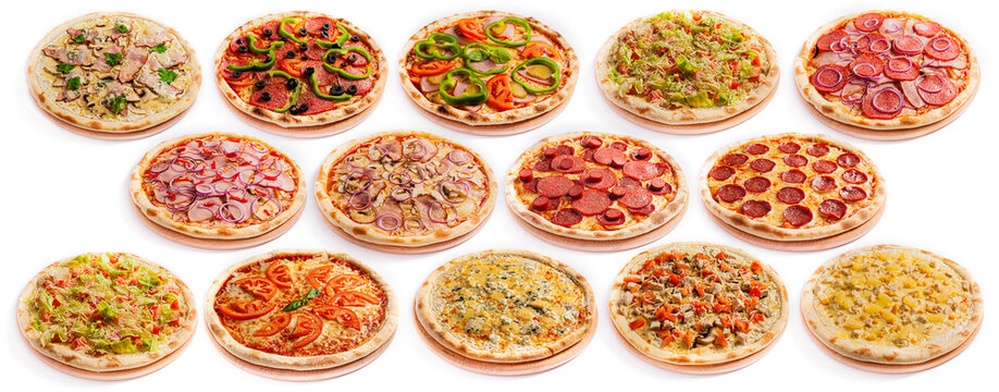 Set pizza assorted ingredients isolated on white background. Round shape pizza thin dough on a board. Top side view.