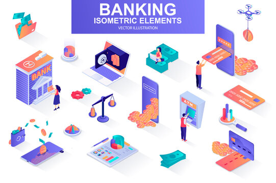 Banking services bundle of isometric elements. Digital wallet, bank building, credit card, mobile app, atm terminal, payment isolated icons. Isometric vector illustration kit with people characters.