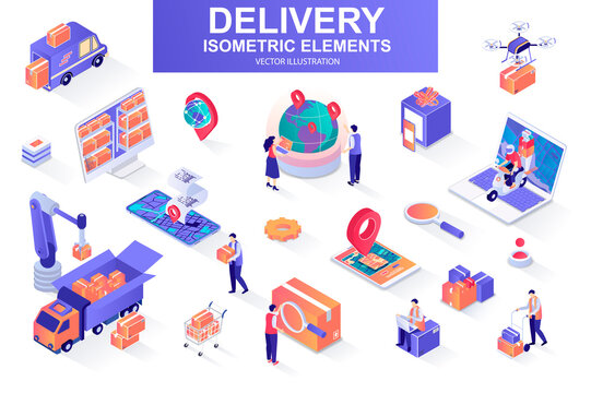 Delivery service bundle of isometric elements. Courier on scooter, delivery truck, pinpointer, warehouse worker, quadcopter, delivery box isolated icons. Isometric vector illustration kit with people.