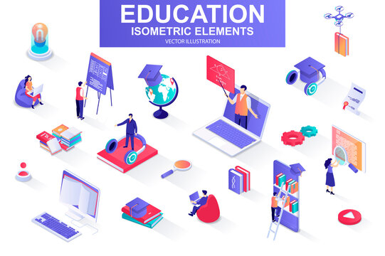 Education bundle of isometric elements. Academic cap, online library, studying student, distance learning, webinar, homework isolated icons. Isometric vector illustration kit with people characters.