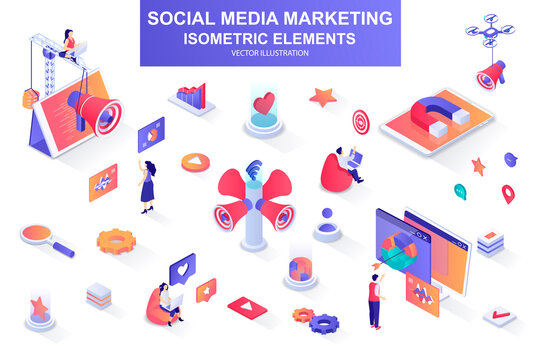 Social media marketing bundle of isometric elements. Magnet, megaphone, lead generation, marketer, announcement and promotion isolated icons. Isometric vector illustration kit with people characters.