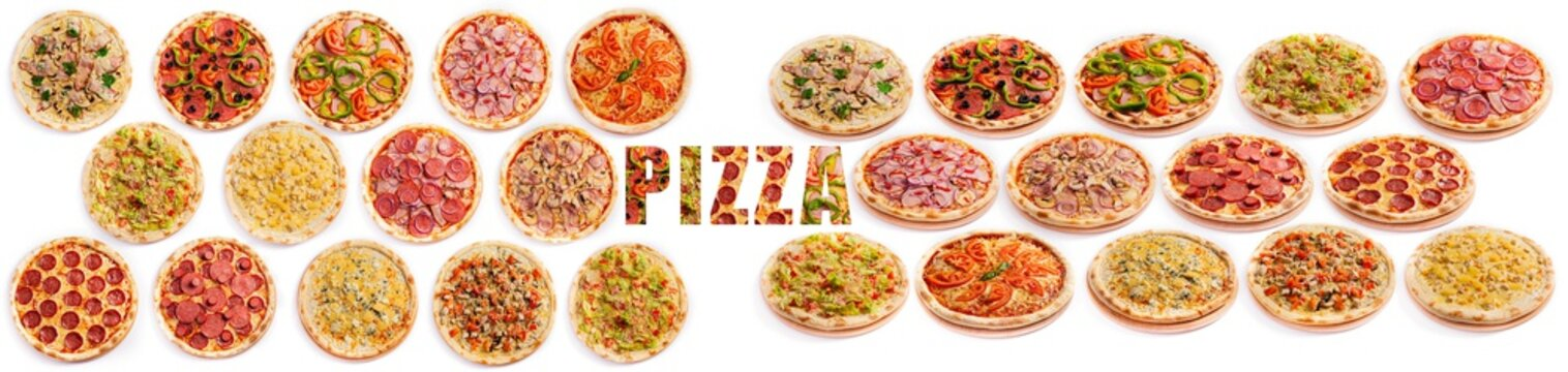 Pizza assortment collection isolated on white background. Various ingredients.
